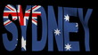Sydney text with fluttering flag animation