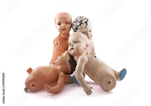 Creepy dolls isolated on white with clipping path