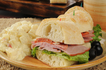 Italian sandwich and potato salad
