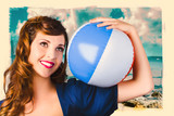 Vintage 1950 era pin-up woman with beach ball