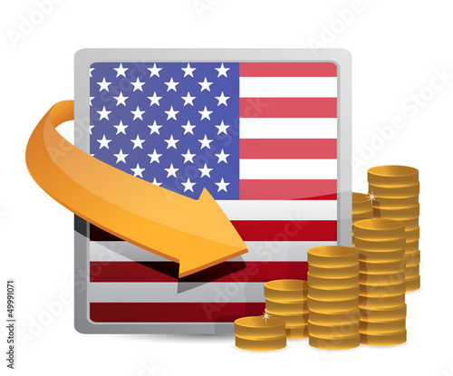 Us currency and flag