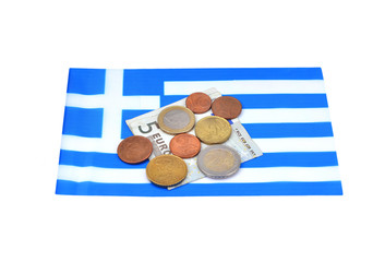 Earning in Greece concept with Euro money and flag