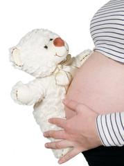 Pregnant hold bear near belly