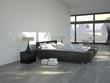 modernes schlafzimmer mit city ausblick
