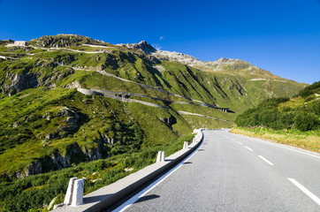Furkapass road in Swiss Alps, Switzerland