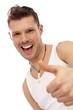 Successful happy man in undershirt