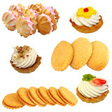 Set of cookies of the various form on a white background