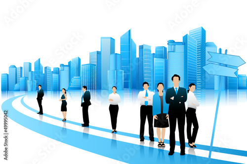 Business People standing on Road