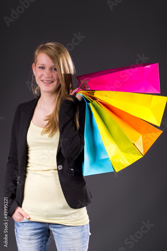 Teenie with some shopping Bags