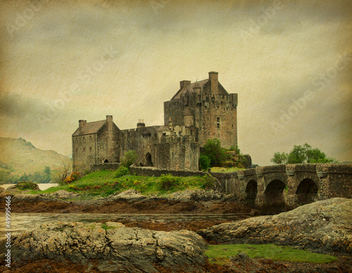 Eilean Donan castle on a cloudy day.  Scotland, UK.