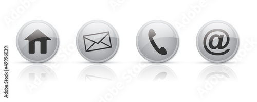 Contact icons in glossy buttons vector