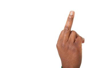 Der Mittelfinger ist nach oben gestreckt