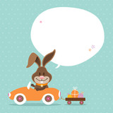 Bunny Car Speech Bubble Retro Dots