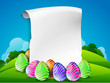 Colorful painted easter eggs with blank banner for Happy Easter.