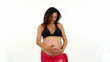 pregnant woman on white background