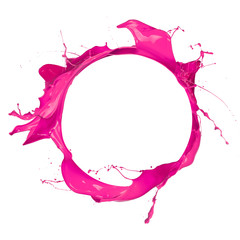 Circle of pink paint with free space for text, isolated on white