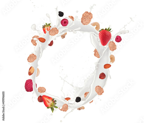 Healthy food and milk with flying cereals and fruit on white