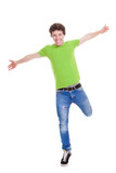 confident teen arms outstretched