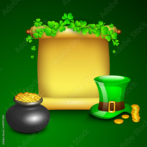 St. Patrick's Day background with gold coins pot, leprechaun hat