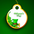 Happy St. Patrick's Day tag or sticker with leprechaun hat, cold