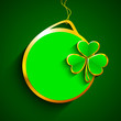 Glossy blank tag with shamrock leave for Happy St. Patrick's Day