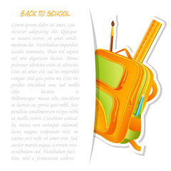 vector illustration of colorful school bag with pencil and ruler