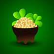 Irish shamrock leaves and golden coins pot flyer, banner or back