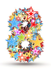 Number 8 from colored stars