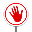 RED HAND WARNING ,STOP SIGN