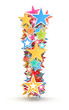 Exclamation mark from colored stars