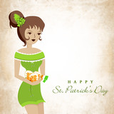 Leprechaun girl holding beer mugs on grungy background.