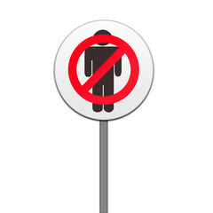 ROAD SIGN,'NO MEN' ISOLATED