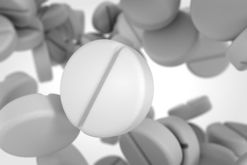 Falling white pills.