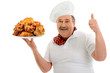 funny happy baker holding plate with rolls