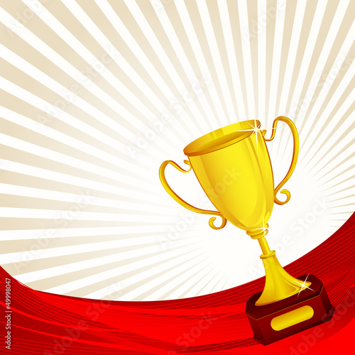 vector illustration of gold trophy against abstract background