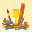 vector illustration of gold trophy with book and stationery
