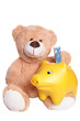 Teddy mit Sparschwein