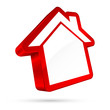 3D House Sign White/Red