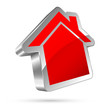 3D House Icon Red/Silver