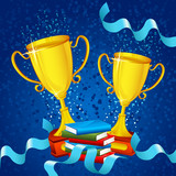 vector illustration of gold trophy with ribbon and book