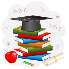 vector illustration of mortar board on book with degree