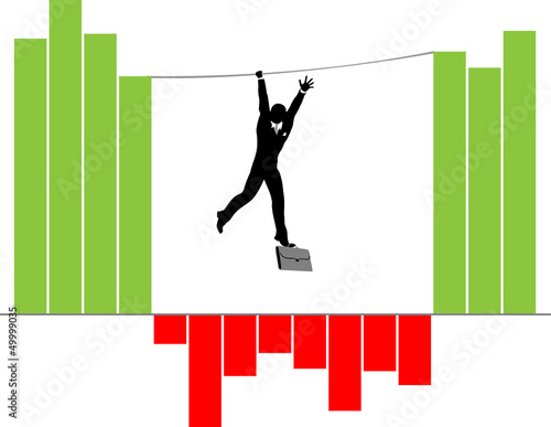 Silhouette of Businessman Conceptual for economy crisis