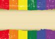 Gay rainbow scratched flag