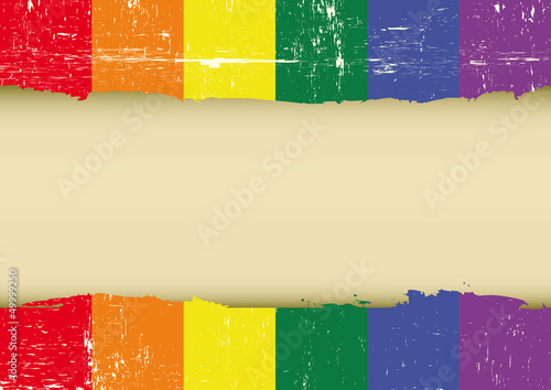 Gay rainbow scratched flag