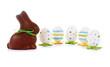 Schokoladen-Osterhase mit Ostereiern