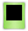 green paper photo frame isolated on white