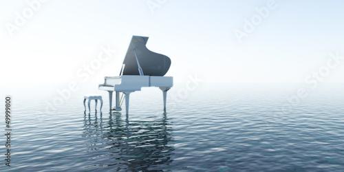 Leinwanddruck Bild Piano, Musik, Sound, Wasser, Meer, Klang