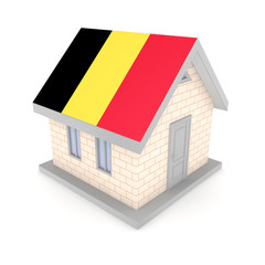 Small house with belgian flag of on a roof.
