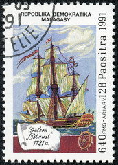 stamp printed in Malagasy shows Galeon Ostrust, 1721