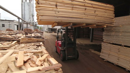 forklift at a sawmill